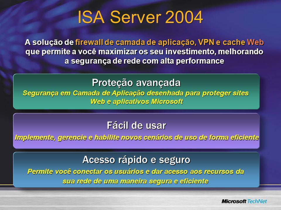 ISA Server 2004 Proteção avançada Fácil de usar Acesso rápido e seguro