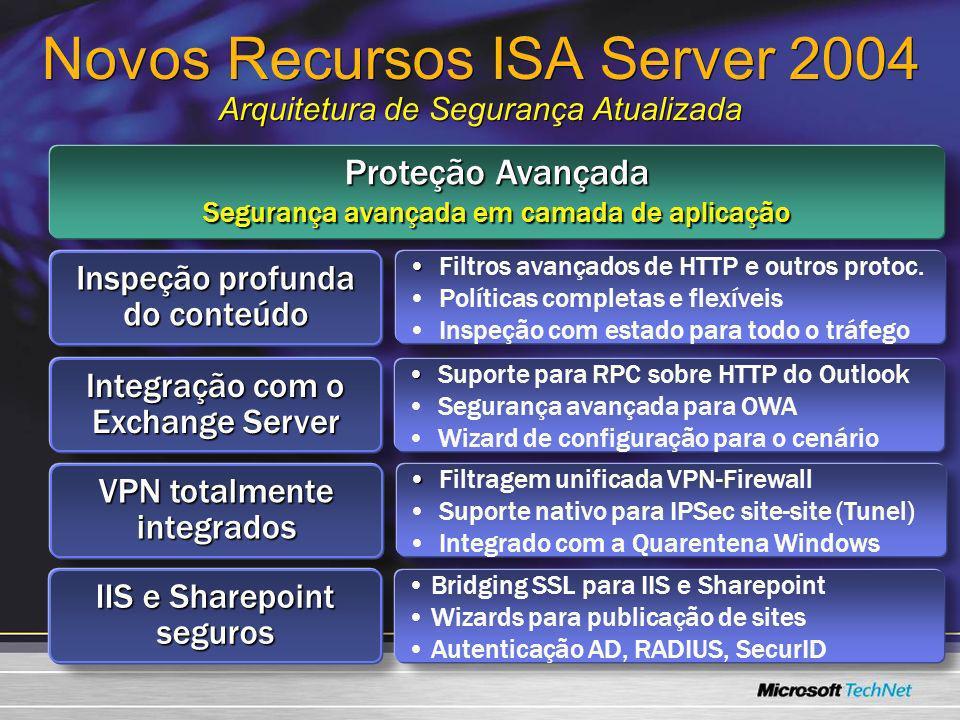 Novos Recursos ISA Server 2004 Arquitetura de Segurança Atualizada