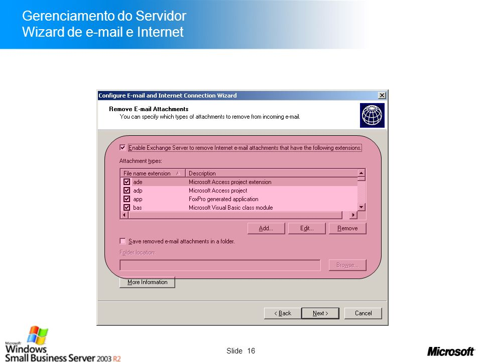 Gerenciamento do Servidor Wizard de e-mail e Internet