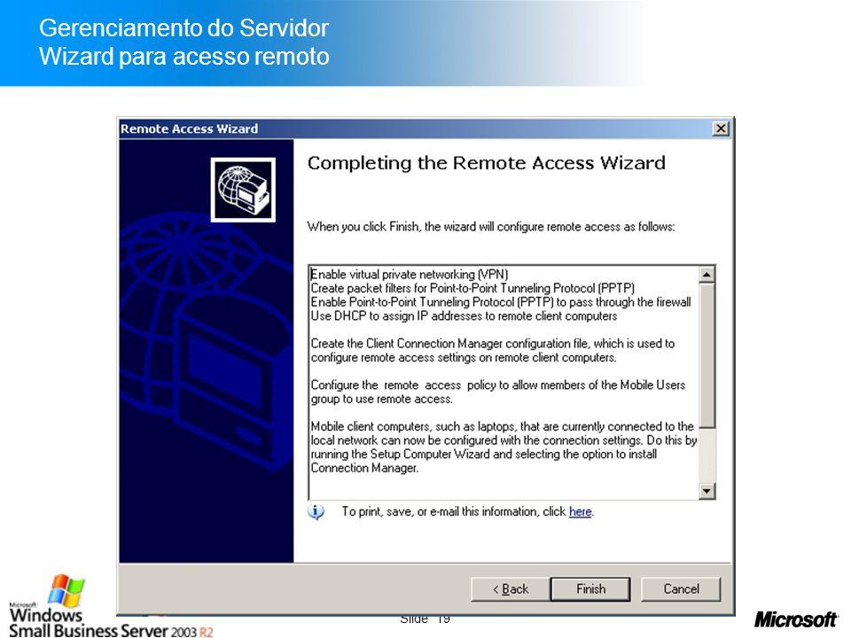 Gerenciamento do Servidor Wizard para acesso remoto