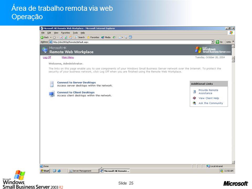 Área de trabalho remota via web Operação