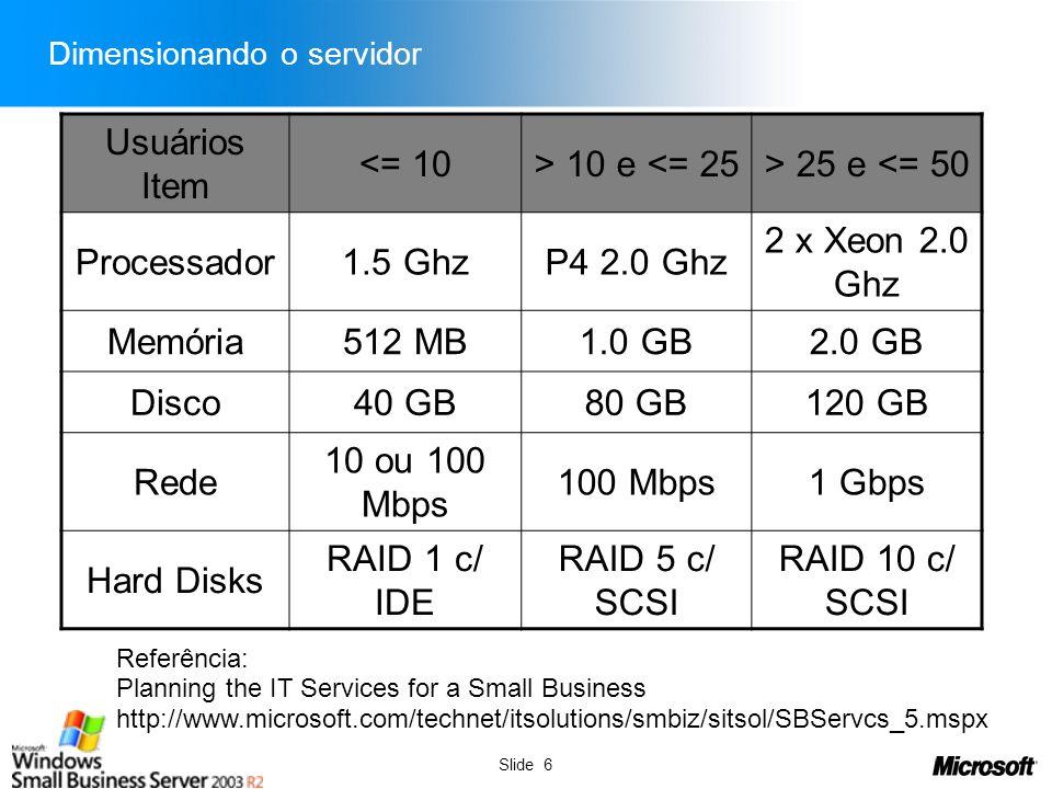 Dimensionando o servidor