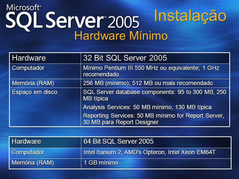 Instalação Hardware Mínimo Hardware 32 Bit SQL Server 2005 Hardware