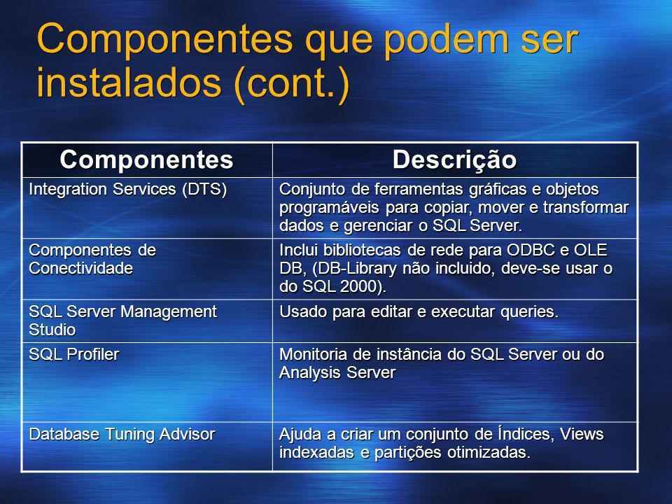 Componentes que podem ser instalados (cont.)