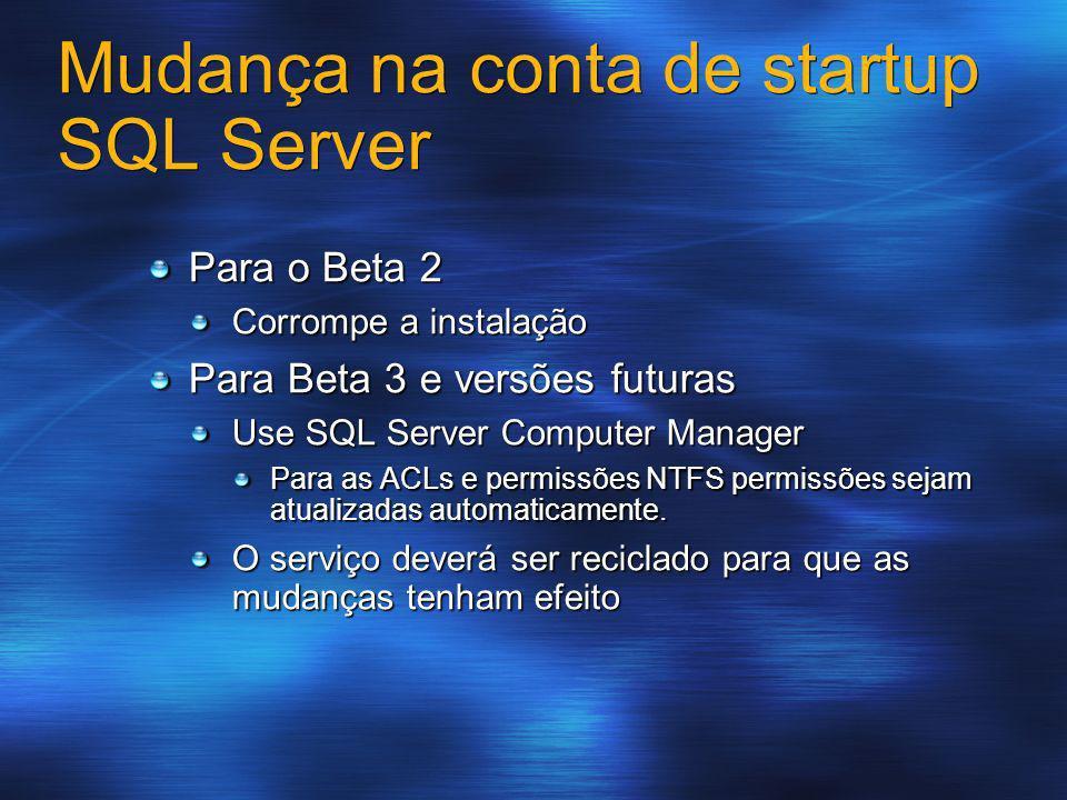 Mudança na conta de startup SQL Server