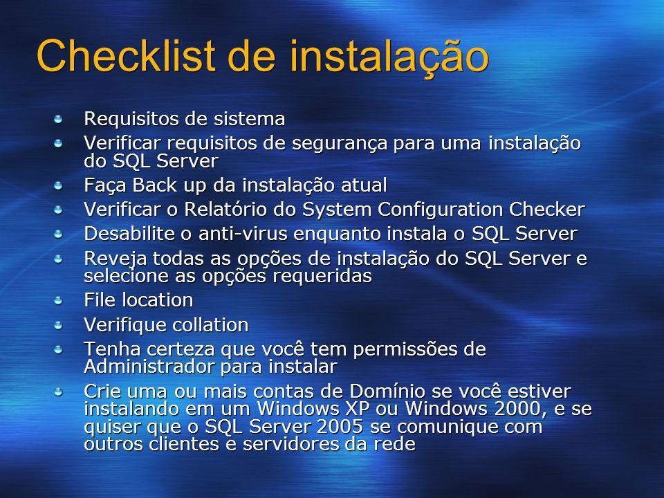 Checklist de instalação