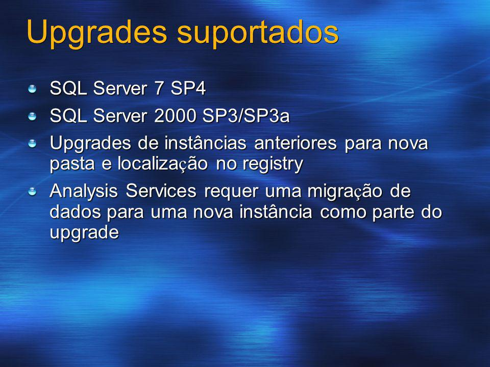 Upgrades suportados SQL Server 7 SP4 SQL Server 2000 SP3/SP3a