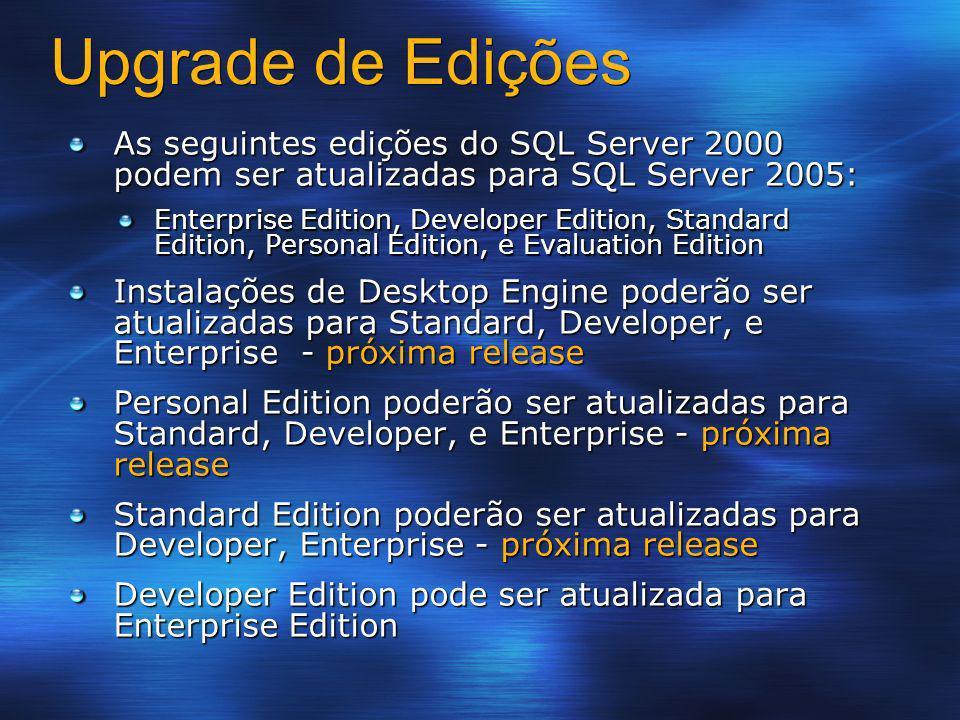 Upgrade de Edições As seguintes edições do SQL Server 2000 podem ser atualizadas para SQL Server 2005: