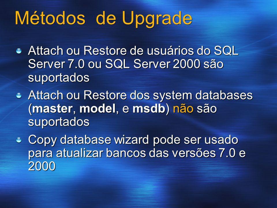 Métodos de Upgrade Attach ou Restore de usuários do SQL Server 7.0 ou SQL Server 2000 são suportados.