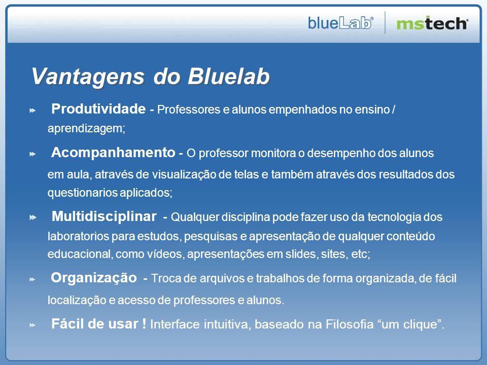 Vantagens do Bluelab Produtividade - Professores e alunos empenhados no ensino / aprendizagem;