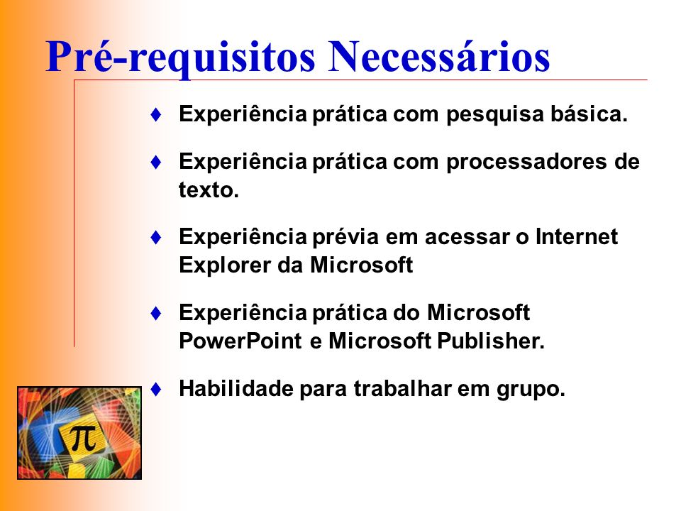 Pré-requisitos Necessários