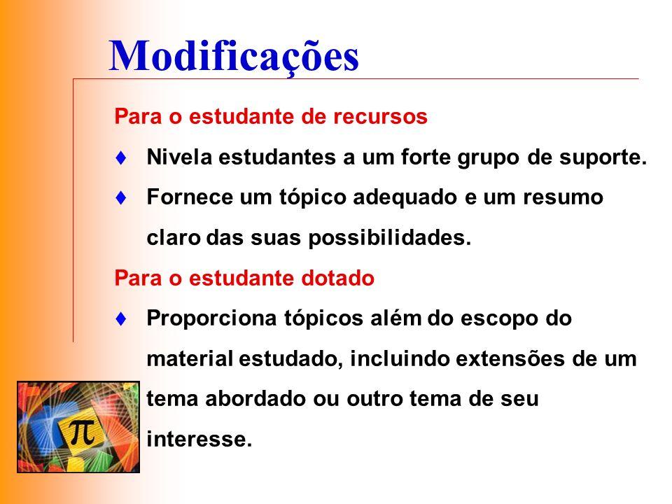 Modificações Para o estudante de recursos