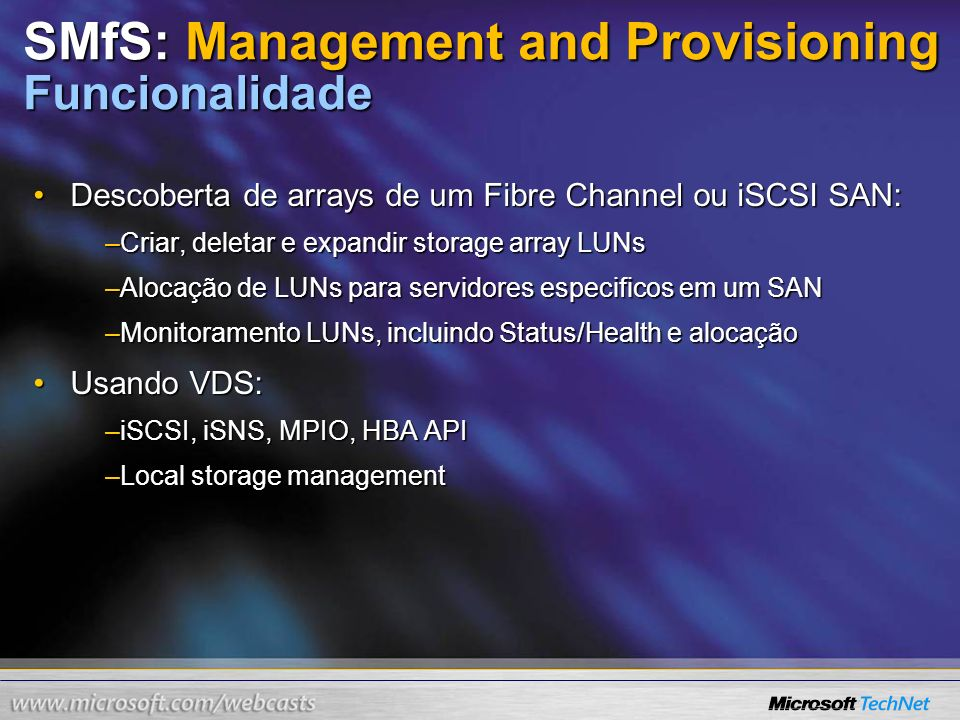 SMfS: Management and Provisioning Funcionalidade