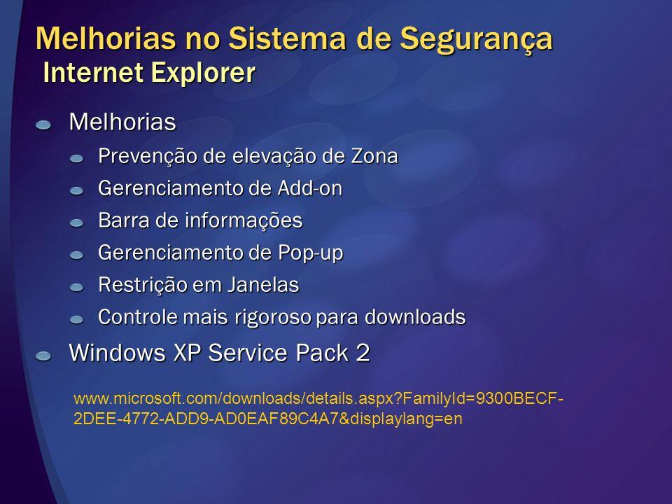 Melhorias no Sistema de Segurança Internet Explorer