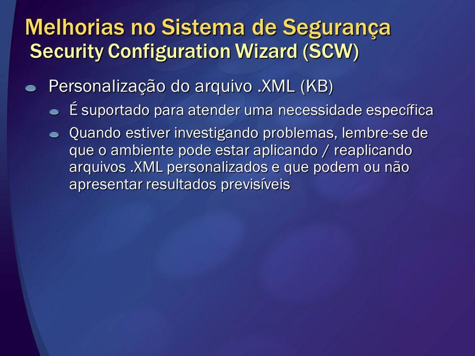 Melhorias no Sistema de Segurança Security Configuration Wizard (SCW)