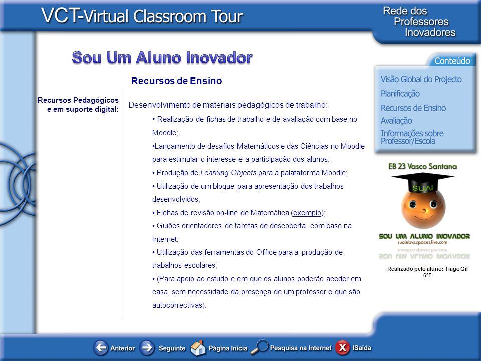 Recursos de Ensino Recursos Pedagógicos e em suporte digital: Desenvolvimento de materiais pedagógicos de trabalho: