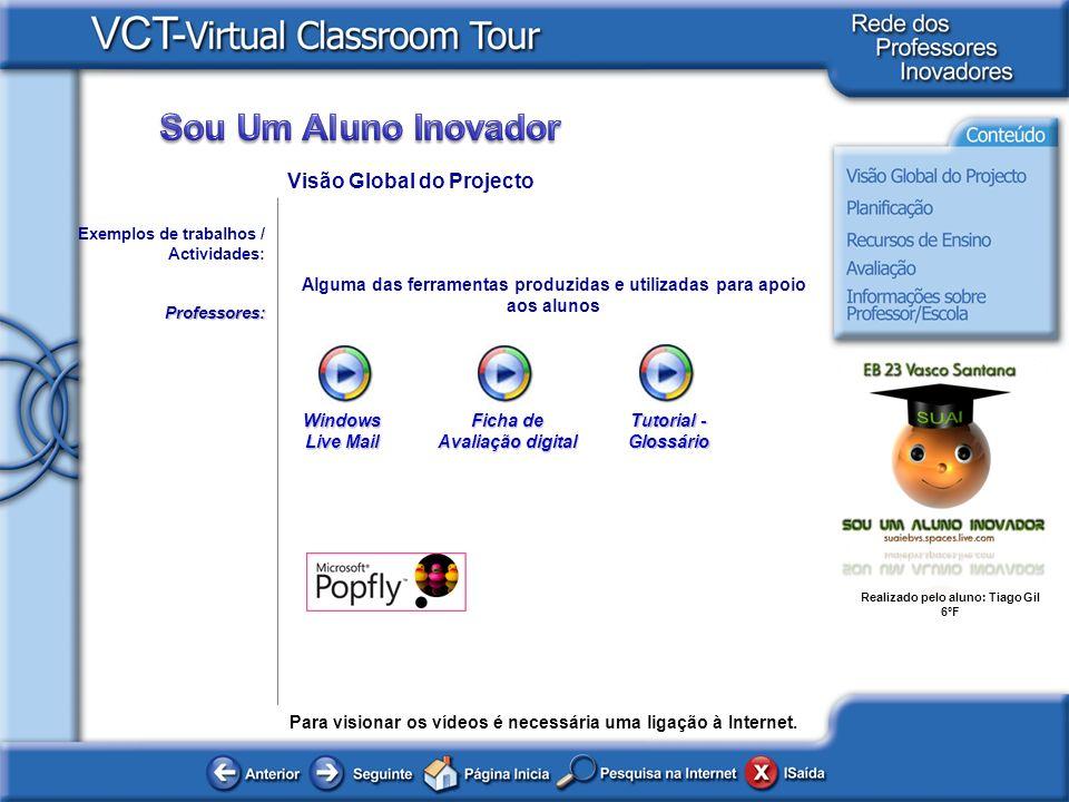 Alguma das ferramentas produzidas e utilizadas para apoio aos alunos