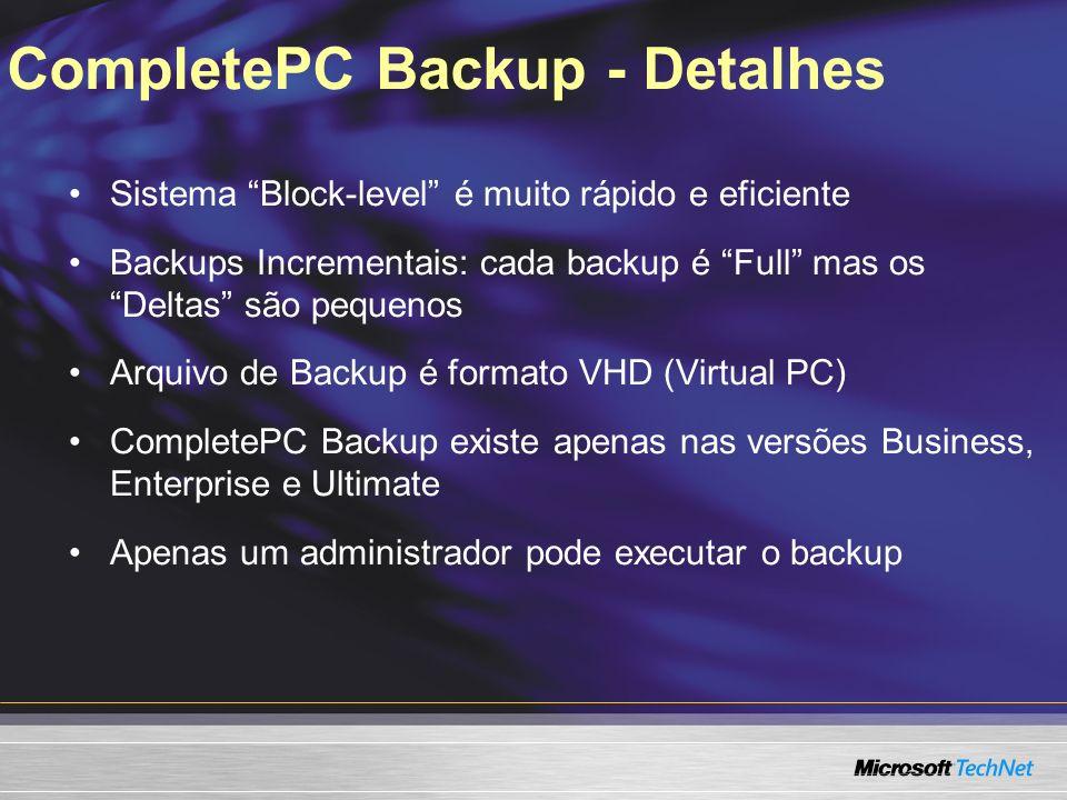 CompletePC Backup - Detalhes
