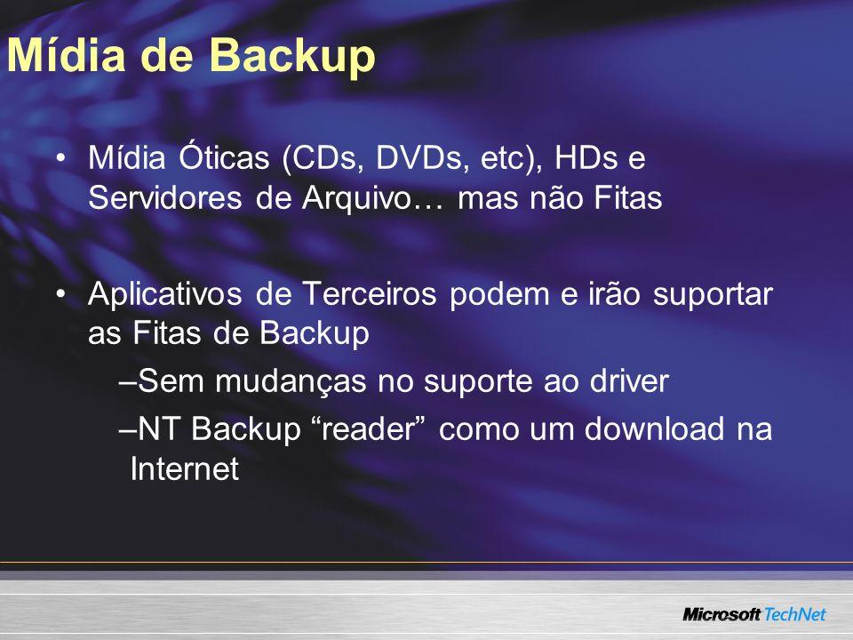 Mídia de Backup 3/24/2017 7:58 AM. Mídia Óticas (CDs, DVDs, etc), HDs e Servidores de Arquivo… mas não Fitas.