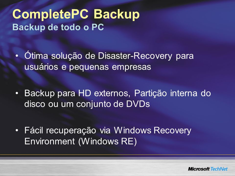 CompletePC Backup Backup de todo o PC