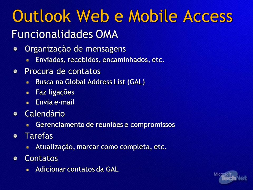 Outlook Web e Mobile Access
