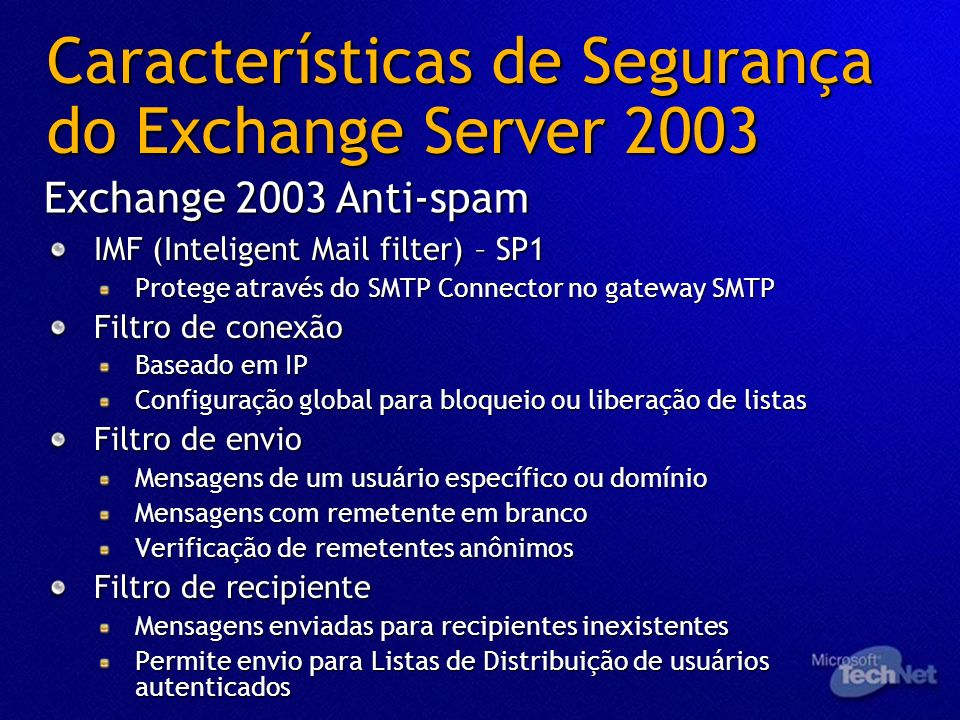 Características de Segurança do Exchange Server 2003