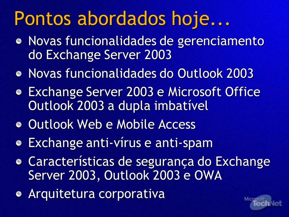 Pontos abordados hoje... Novas funcionalidades de gerenciamento do Exchange Server 2003. Novas funcionalidades do Outlook 2003.