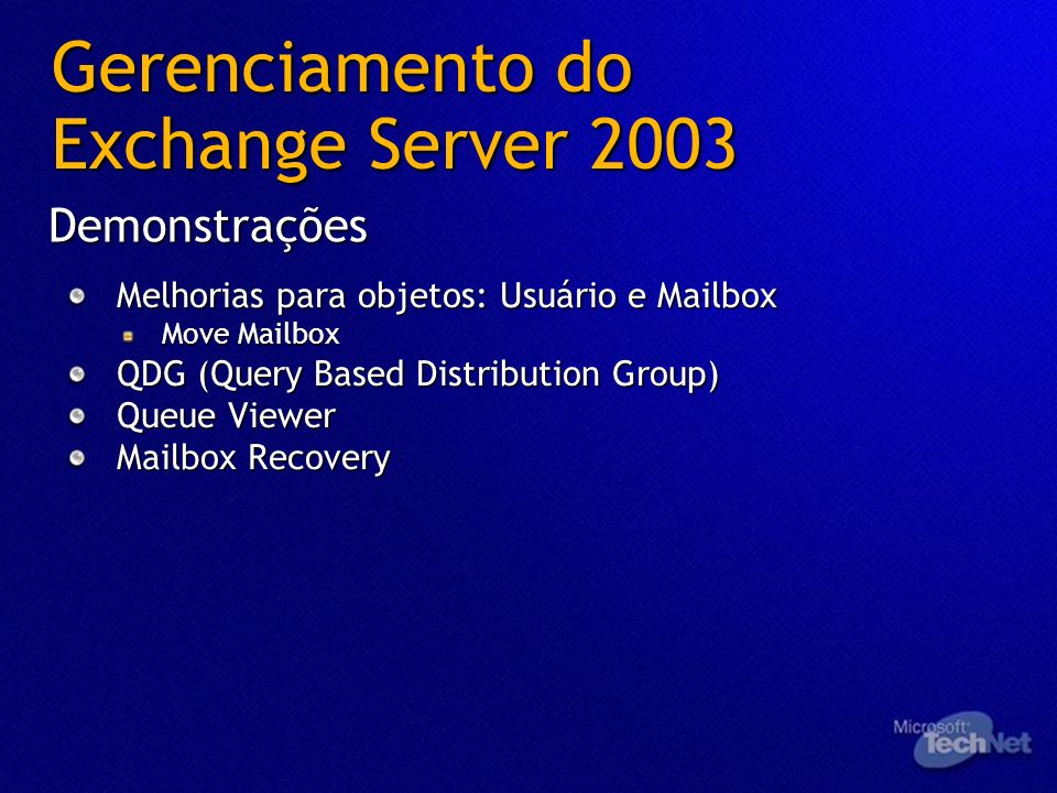 Gerenciamento do Exchange Server 2003