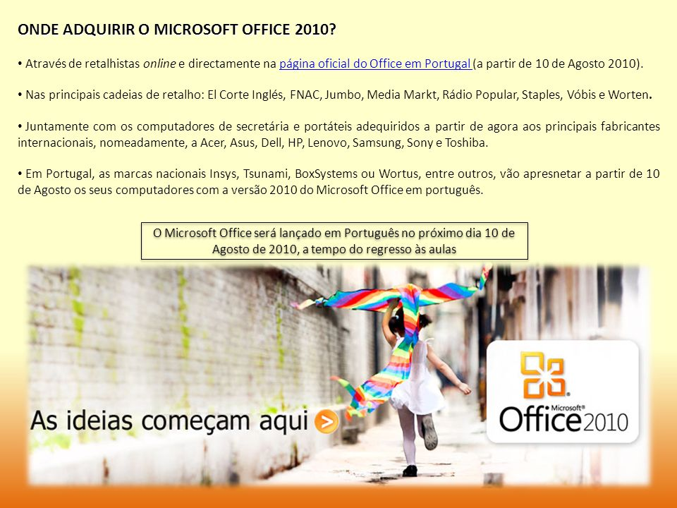ONDE ADQUIRIR O MICROSOFT OFFICE 2010