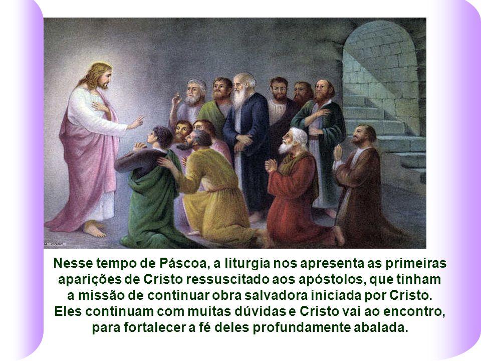 Nesse tempo de Páscoa, a liturgia nos apresenta as primeiras aparições de Cristo ressuscitado aos apóstolos, que tinham a missão de continuar obra salvadora iniciada por Cristo.