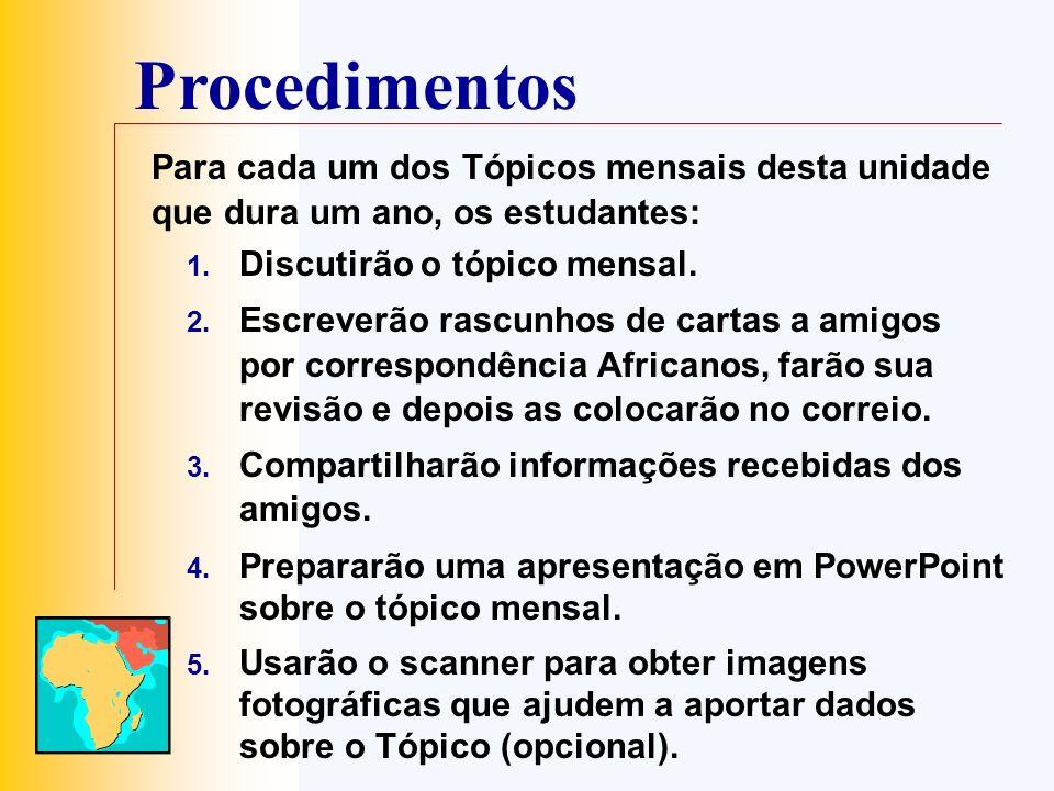 Procedimentos Para cada um dos Tópicos mensais desta unidade que dura um ano, os estudantes: Discutirão o tópico mensal.