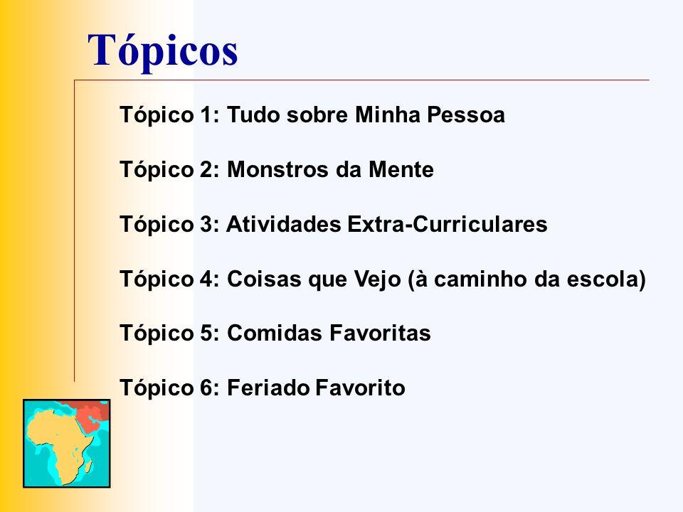 Tópicos Tópico 1: Tudo sobre Minha Pessoa Tópico 2: Monstros da Mente