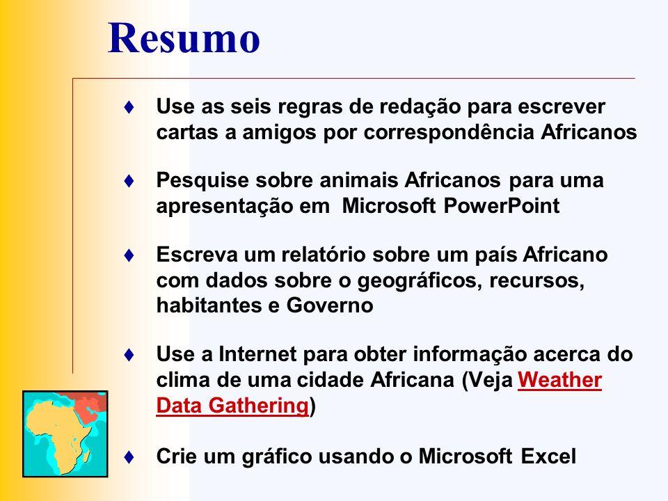 Resumo Use as seis regras de redação para escrever cartas a amigos por correspondência Africanos.