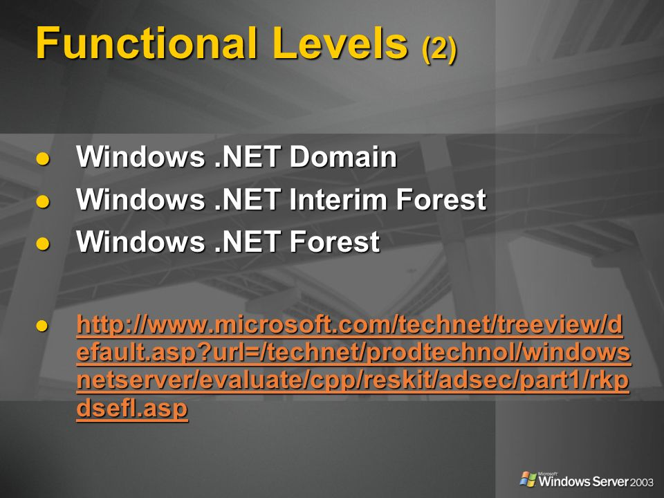 Functional Levels (2) Windows .NET Domain Windows .NET Interim Forest