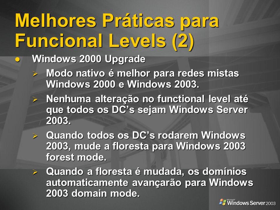 Melhores Práticas para Funcional Levels (2)