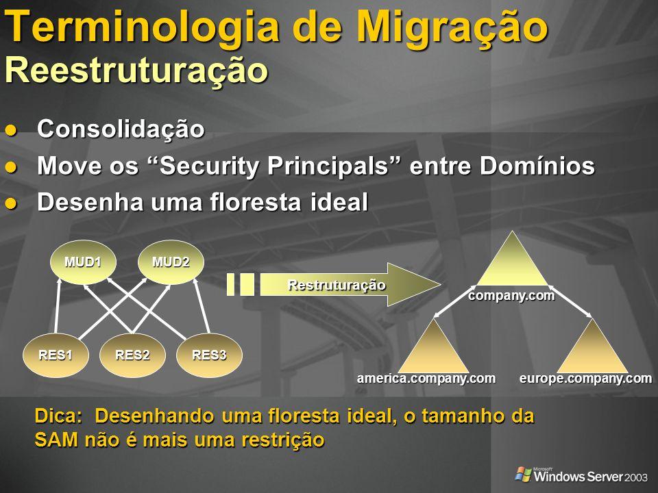 Terminologia de Migração Reestruturação