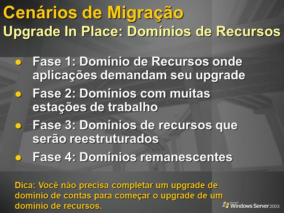 Cenários de Migração Upgrade In Place: Domínios de Recursos