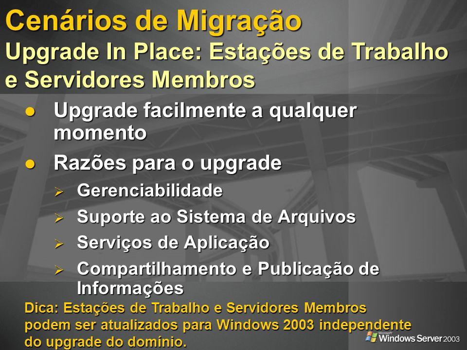 Cenários de Migração Upgrade In Place: Estações de Trabalho e Servidores Membros