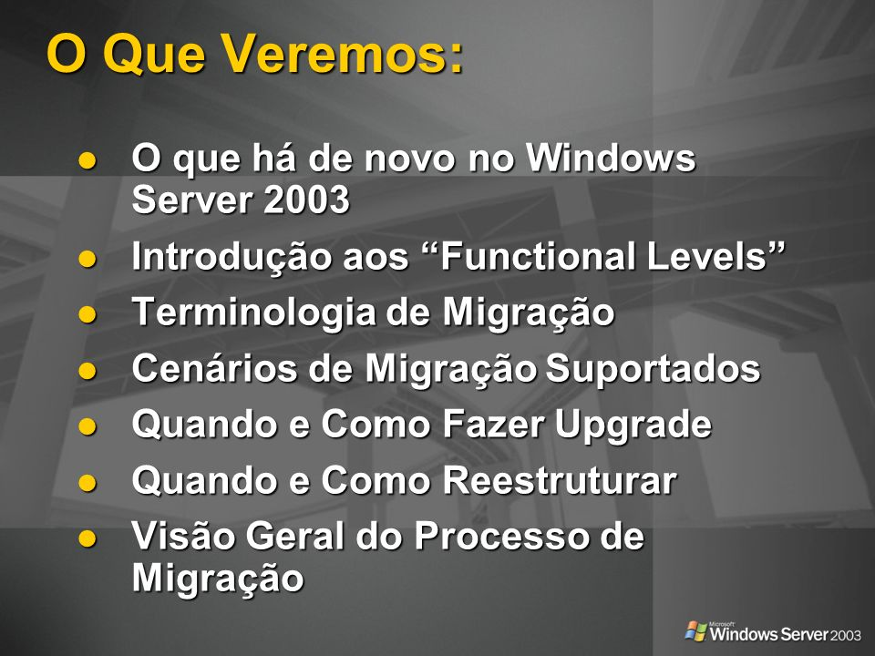 O Que Veremos: O que há de novo no Windows Server 2003