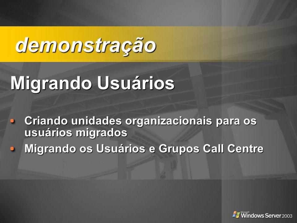 demonstração Migrando Usuários