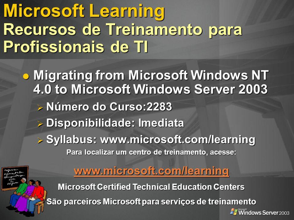 Microsoft Learning Recursos de Treinamento para Profissionais de TI
