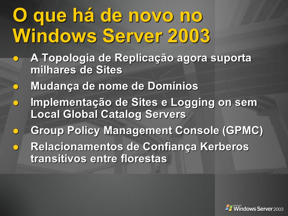 O que há de novo no Windows Server 2003