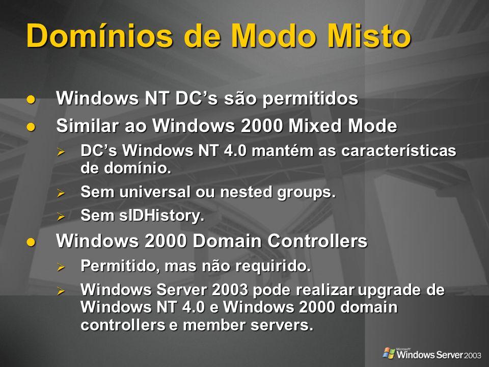 Domínios de Modo Misto Windows NT DC's são permitidos