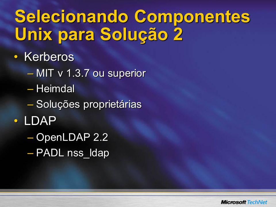Selecionando Componentes Unix para Solução 2