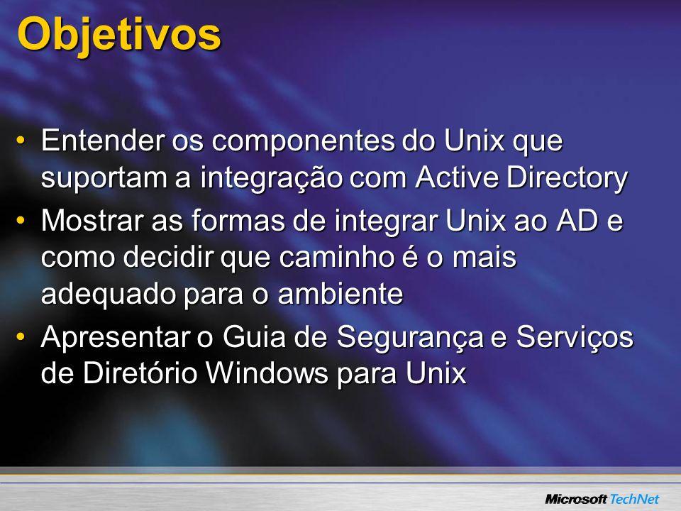 Objetivos Entender os componentes do Unix que suportam a integração com Active Directory.