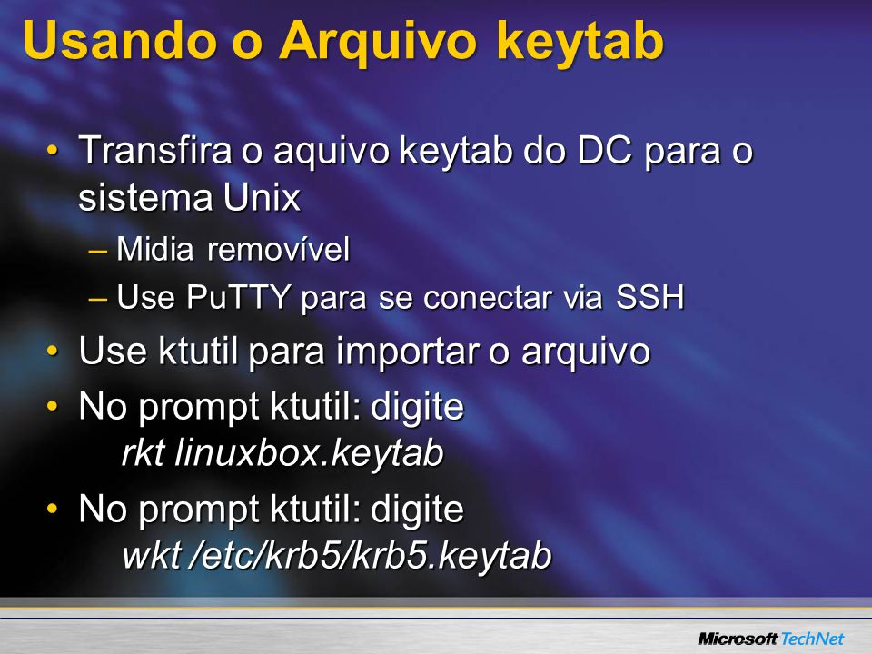 Usando o Arquivo keytab