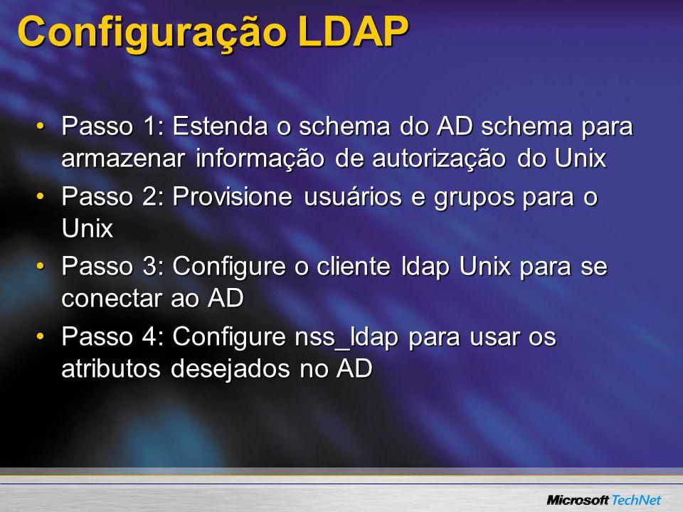 3/24/2017 7:59 AM Configuração LDAP. Passo 1: Estenda o schema do AD schema para armazenar informação de autorização do Unix.