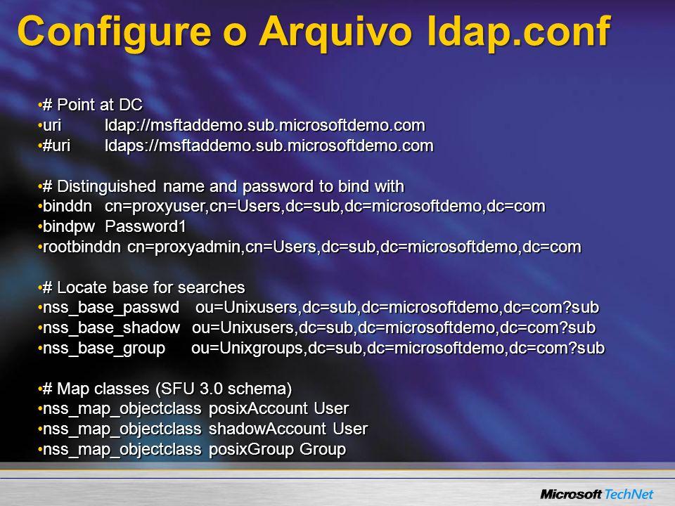Configure o Arquivo ldap.conf