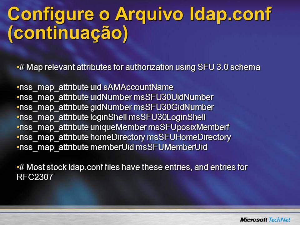 Configure o Arquivo ldap.conf (continuação)