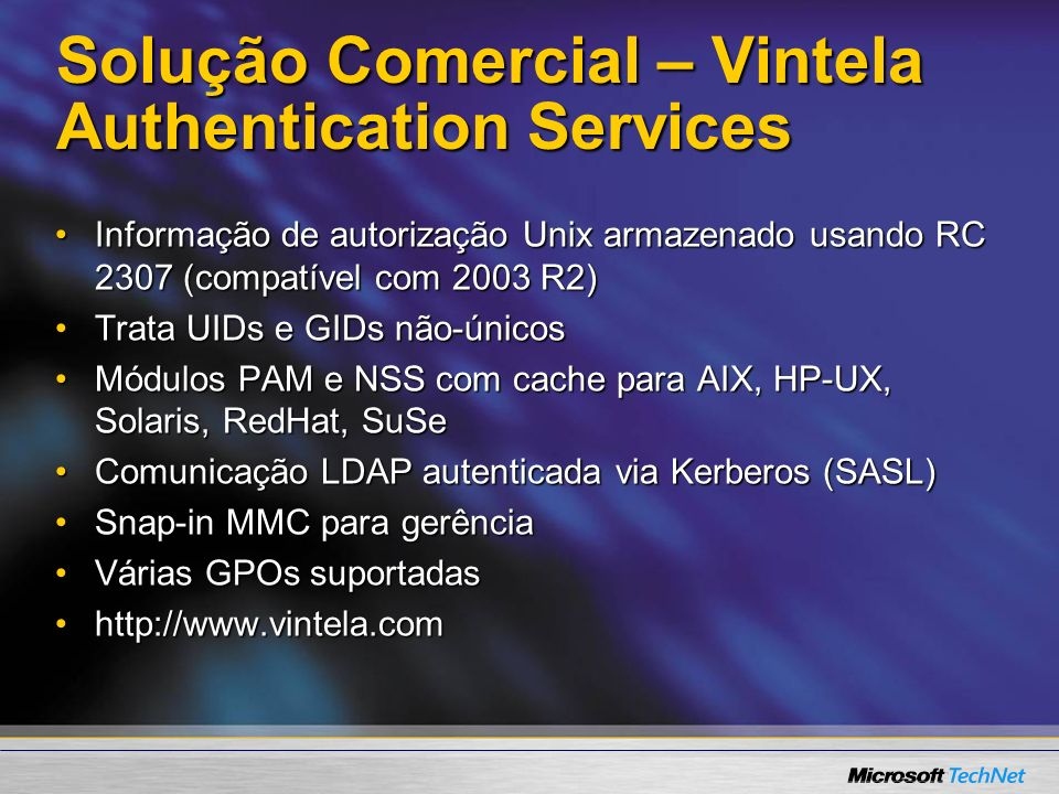Solução Comercial – Vintela Authentication Services
